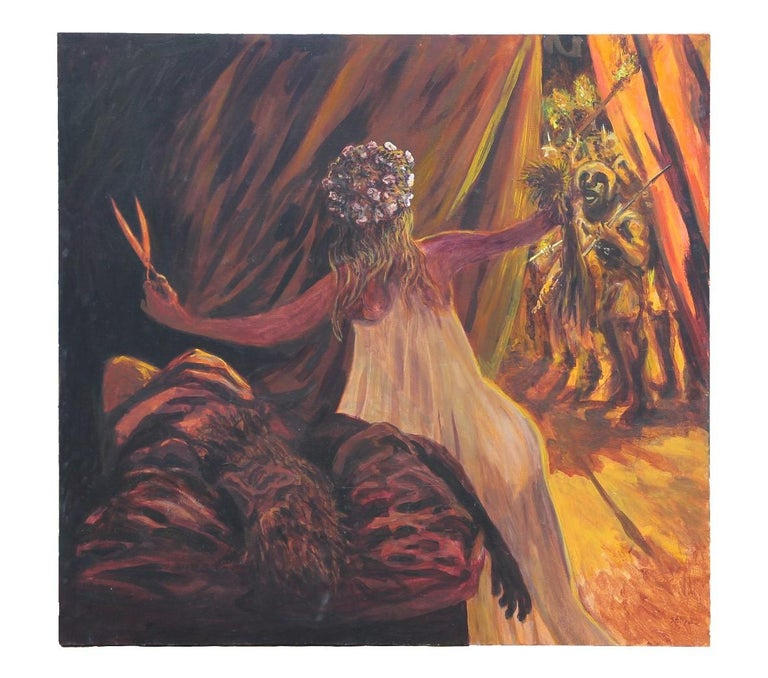 Large figurative painting of the biblical subject of Samson and Delilah. The canvas is signed, titled and dated by the artist in the bottom corner and the back of the canvas. The work is not framed.  Artist Biography:  Earl Staley grew up in the