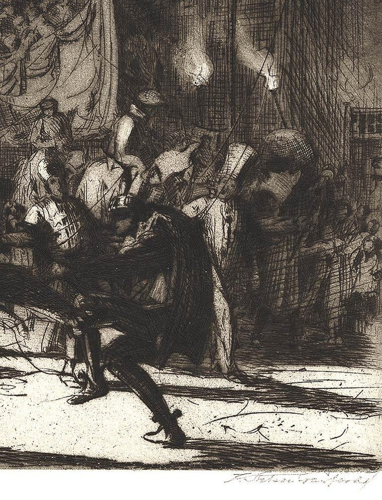 Mardi Gras, Menton (a zesty Fat Tuesday festival in a town on Riviera) - Black Landscape Print by Earl Stetson Crawford