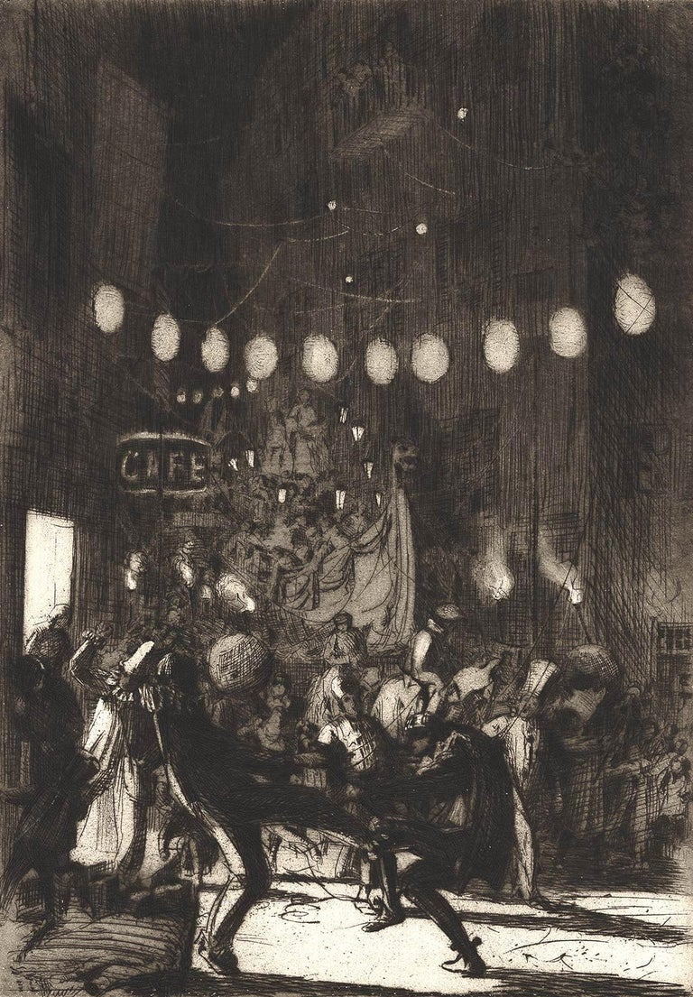 Earl Stetson Crawford Landscape Print - Mardi Gras, Menton (a zesty Fat Tuesday festival in a town on Riviera)
