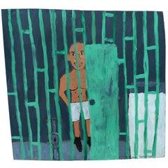 Earl Swanigan Prison Scene Painting
