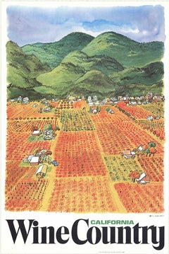 Original California Wine Country vintage wine and travel poster