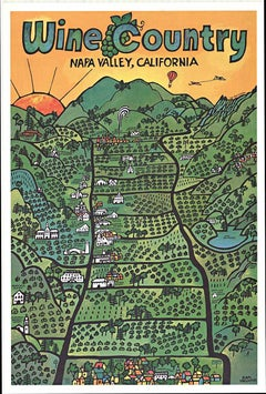 Original Wine Country Napa Valley California vintage travel and wine poster