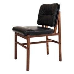 Earl Walnut, Black Leather Moresby Dining Chair