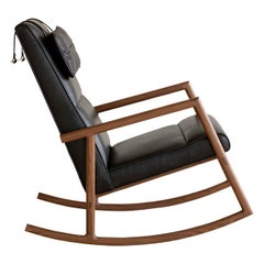 EARL Walnut, Black Leather Moresby Rocking Chair