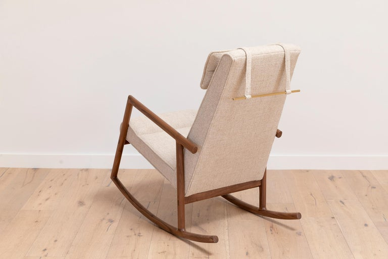 Earl Walnut, Ivory Textured Linen Moresby Rocking Chair For Sale 3