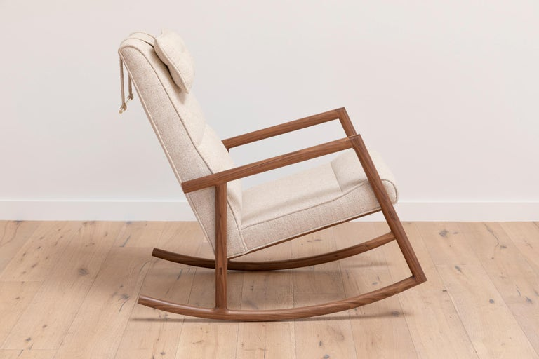 Contemporary Earl Walnut, Ivory Textured Linen Moresby Rocking Chair For Sale