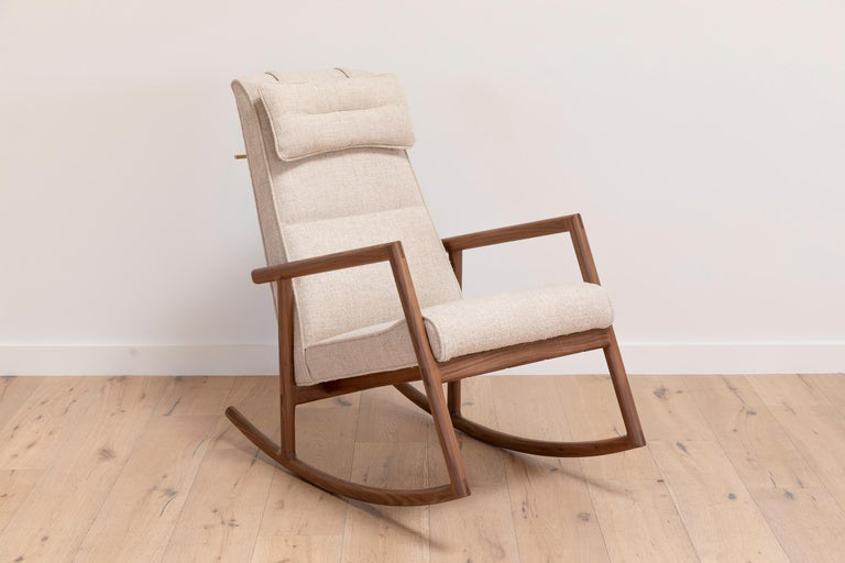 Earl Walnut, Ivory Textured Linen Moresby Rocking Chair For Sale 1
