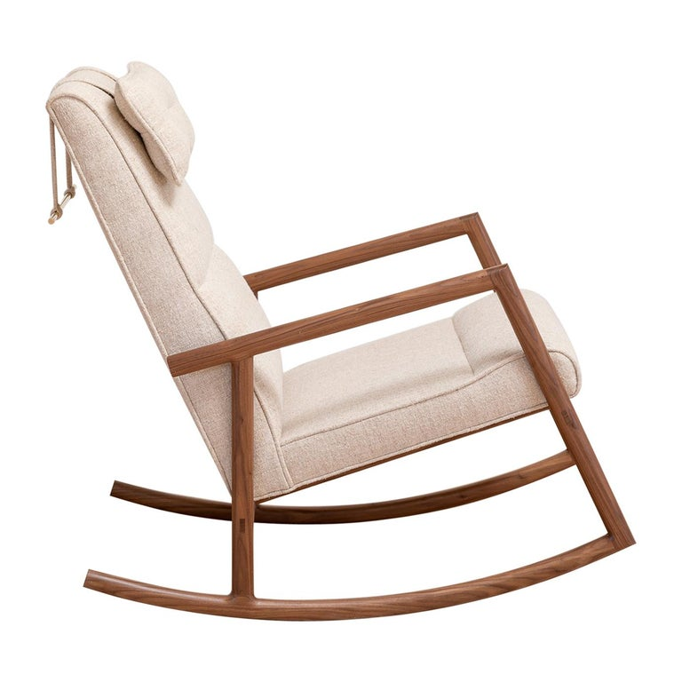 Earl Walnut, Ivory Textured Linen Moresby Rocking Chair For Sale
