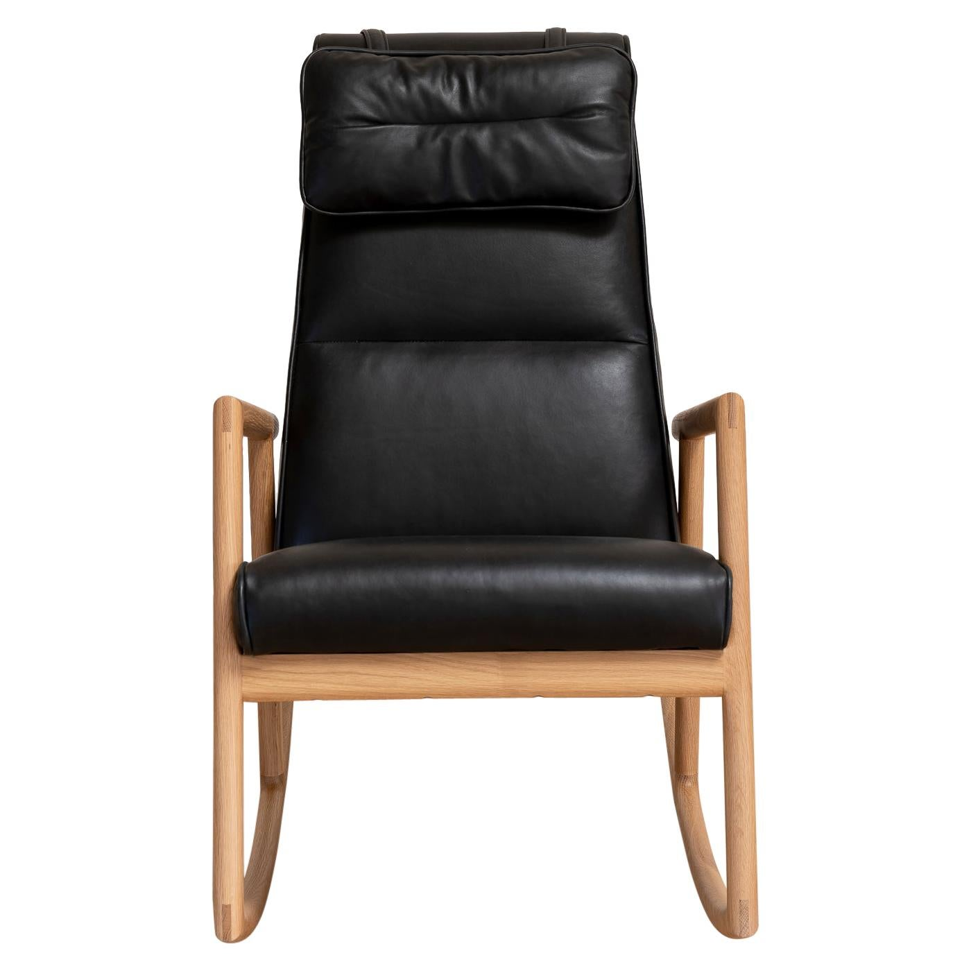 Earl White Oak, Black Leather Moresby Rocking Chair