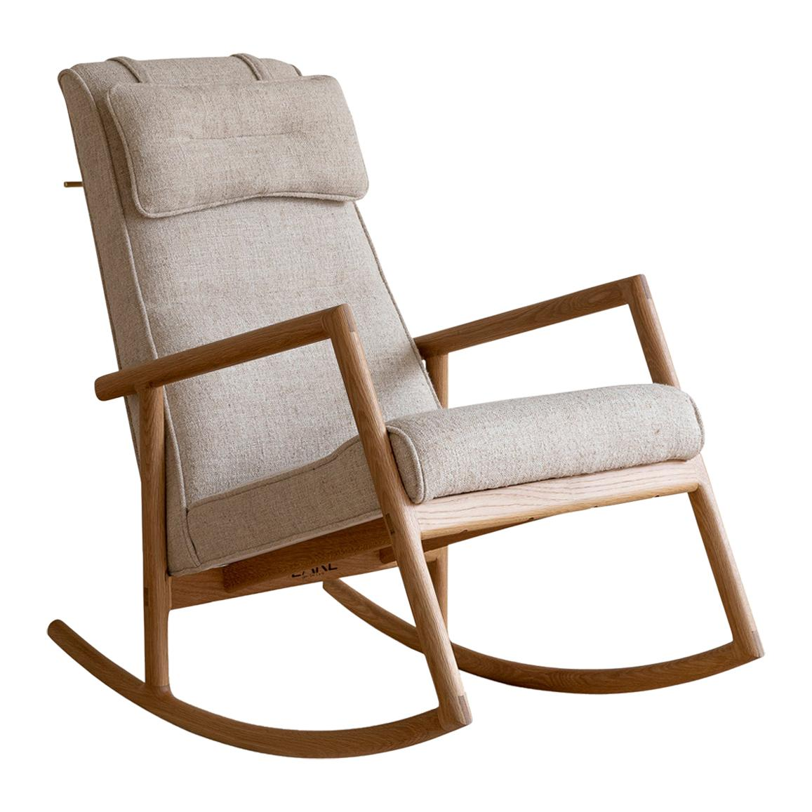 Earl White Oak, Ivory Textured Linen Moresby Rocking Chair