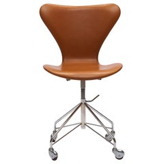 Earliest Series Cognac Leather Arne Jacobsen 3117 Desk Swivel Chair Fritz Hansen