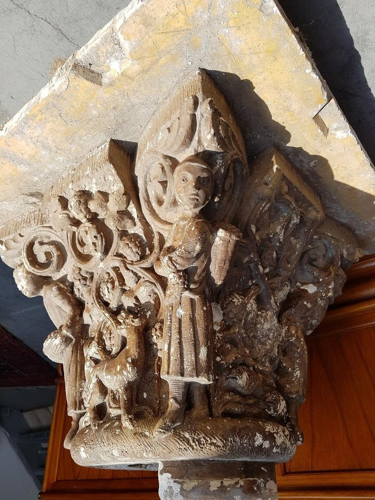 Really a beautiful and rare piece of art, this large format French plaster capital with around the representation of the 4 seasons of grape growing. This is from the Berton workshop in Reims. Originating from the first half of the 20th