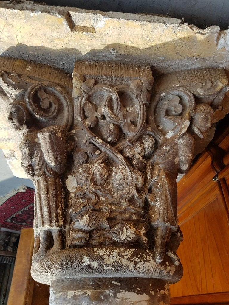 Medieval Early 20th Century French Plaster Capital with Representation of the 4 Seasons For Sale