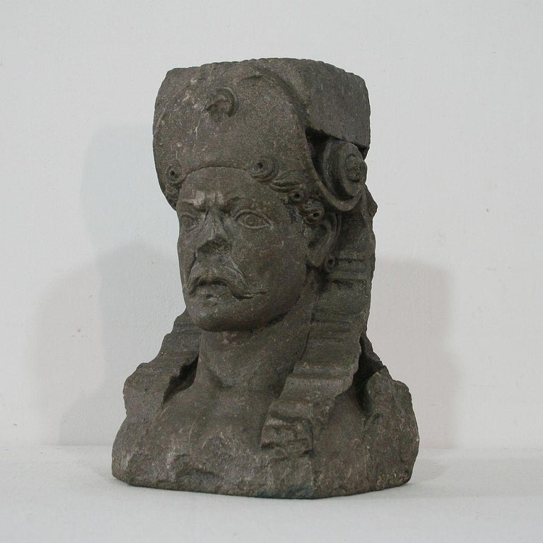 Unique hand carved stone Renaissance bust with a very strong expression. Belgium, Holland, circa 1600-1650. Weathered, small losses.