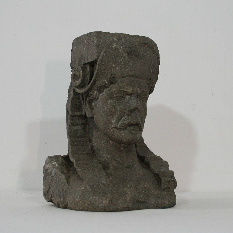 Dutch Early 17th Century Carved Stone Renaissance Bust For Sale