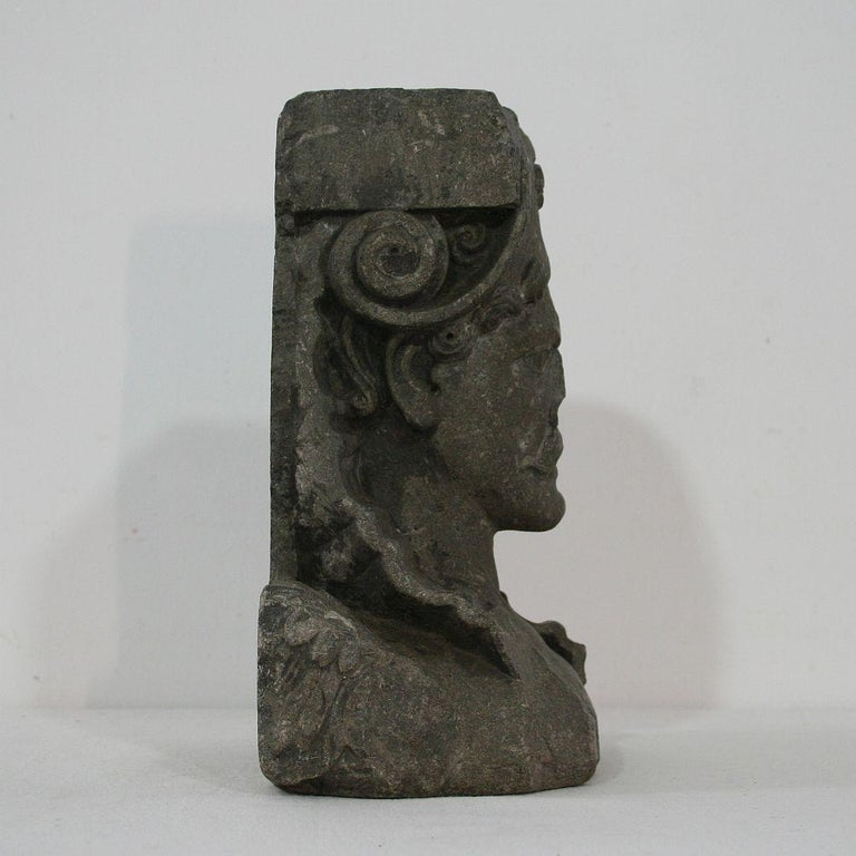 Hand-Carved Early 17th Century Carved Stone Renaissance Bust For Sale