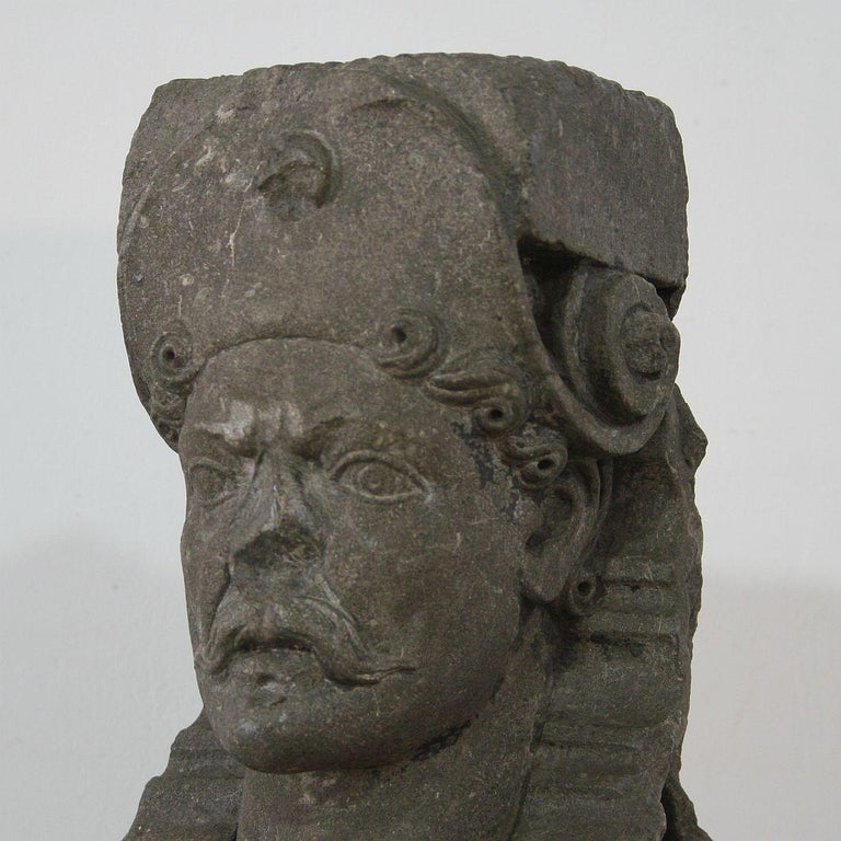 Early 17th Century Carved Stone Renaissance Bust For Sale 2