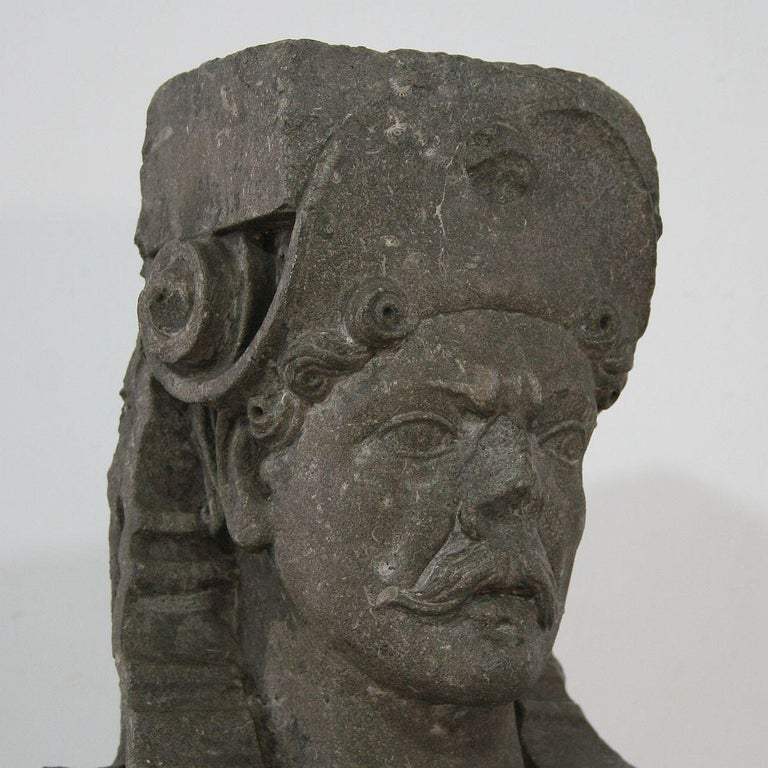 Early 17th Century Carved Stone Renaissance Bust For Sale 3