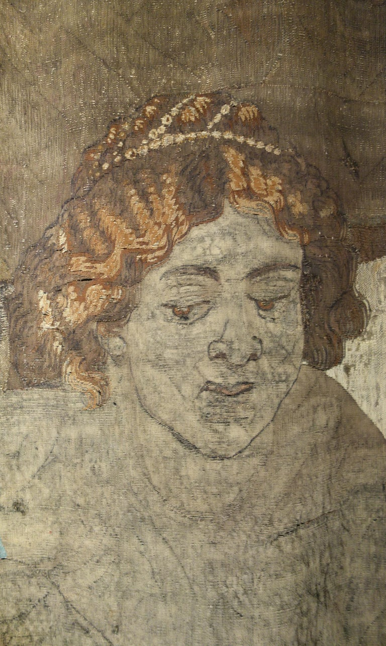 Early 17th Century Flemish Tapestry Fragment of Vulcan the Roman God of Fire For Sale 7