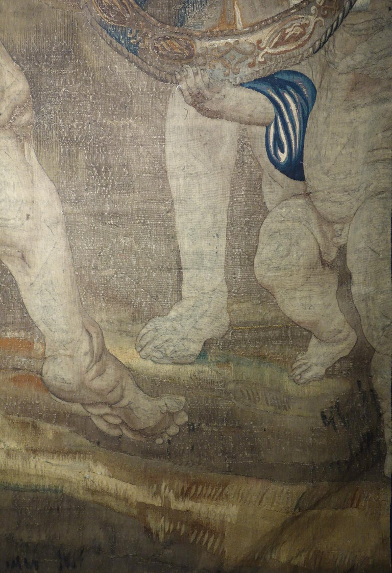 Early 17th Century Flemish Tapestry Fragment of Vulcan the Roman God of Fire For Sale 8