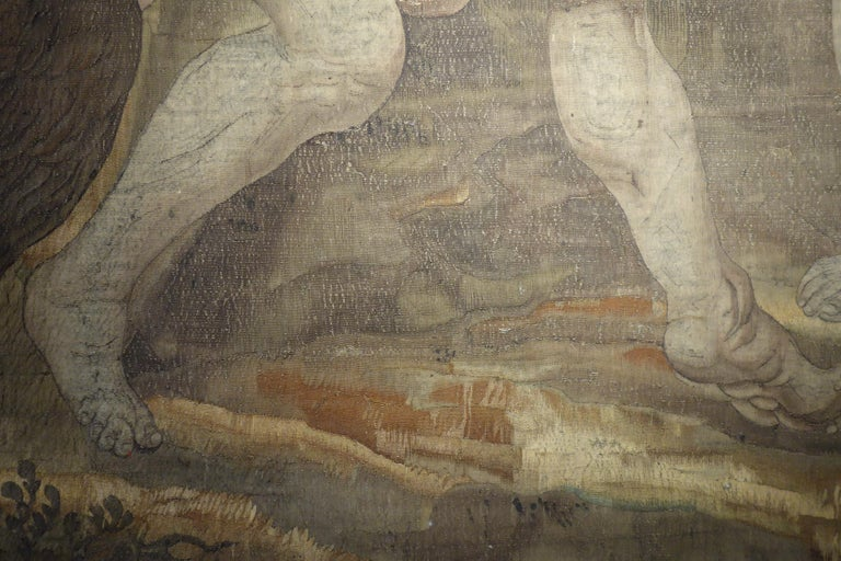 Early 17th Century Flemish Tapestry Fragment of Vulcan the Roman God of Fire For Sale 10