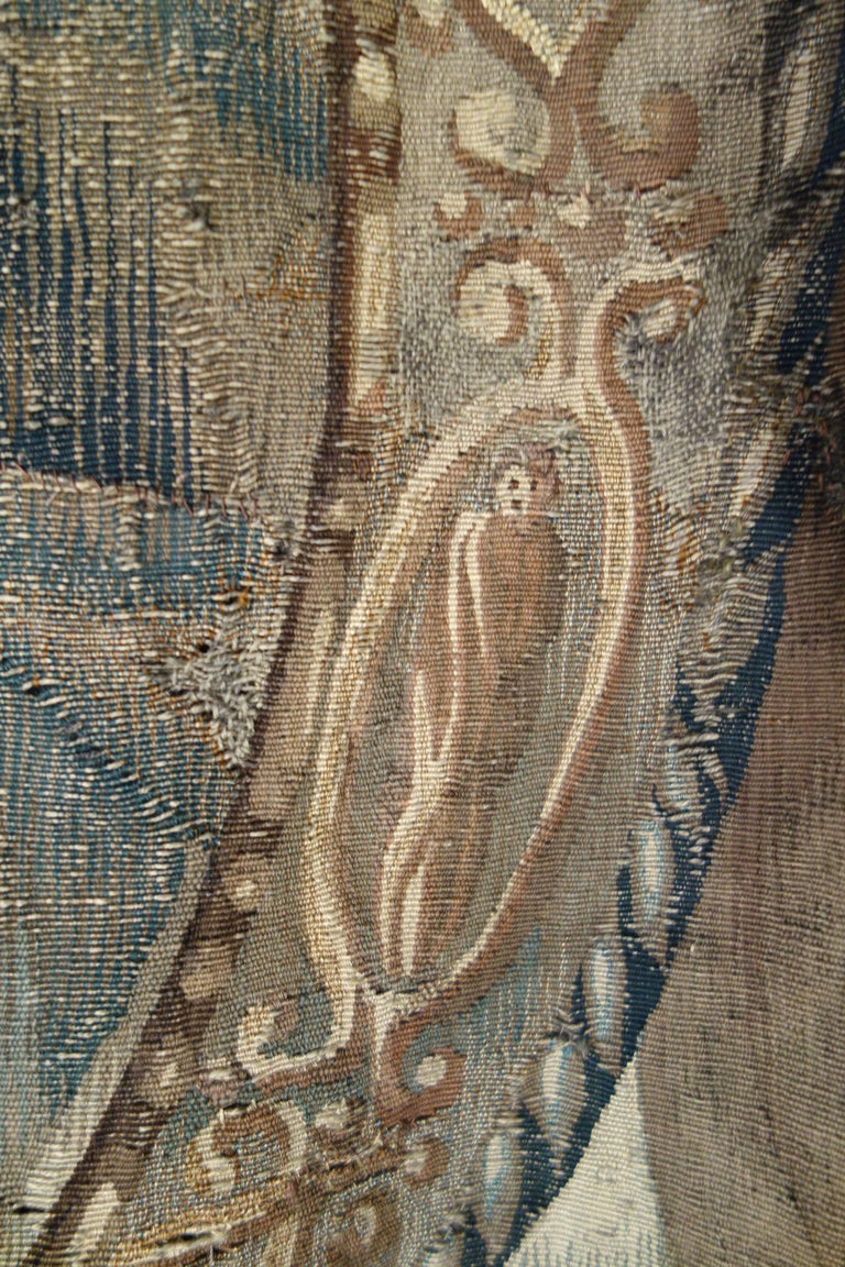 Early 17th Century Flemish Tapestry Fragment of Vulcan the Roman God of Fire For Sale 11