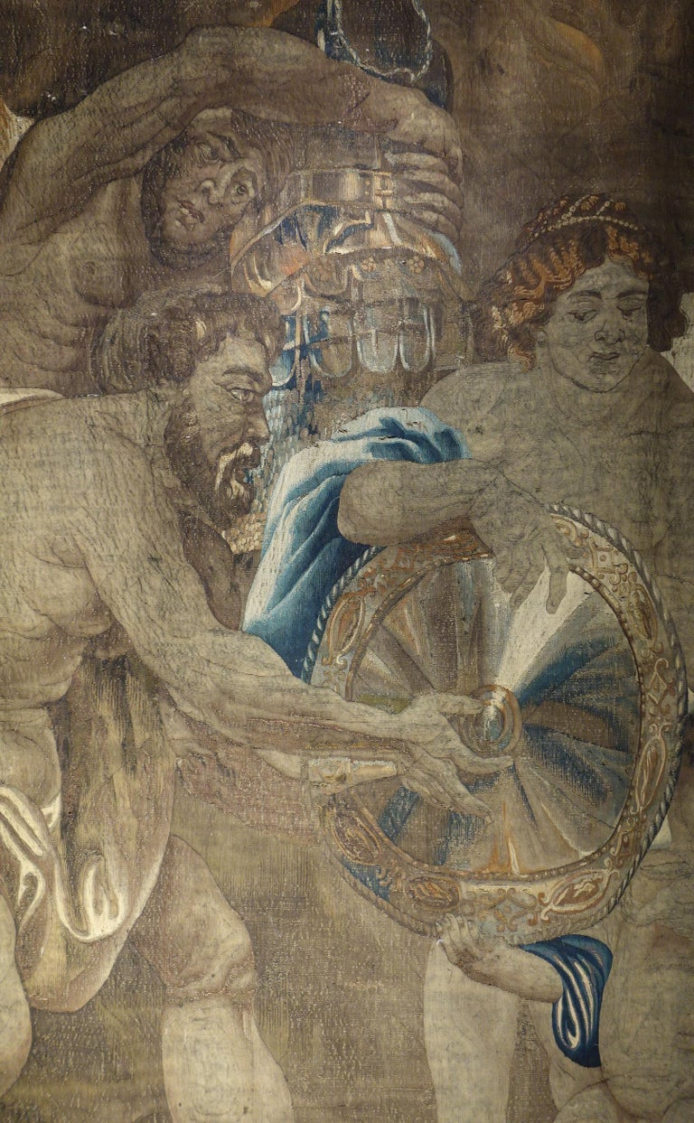 Belgian Early 17th Century Flemish Tapestry Fragment of Vulcan the Roman God of Fire For Sale
