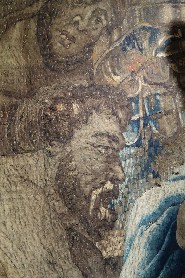 Early 17th Century Flemish Tapestry Fragment of Vulcan the Roman God of Fire For Sale 4