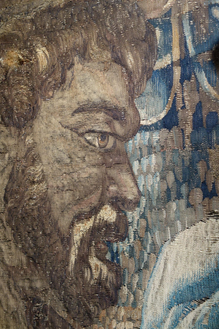 Early 17th Century Flemish Tapestry Fragment of Vulcan the Roman God of Fire For Sale 5