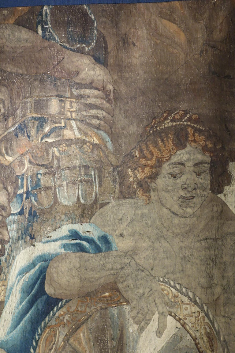 Early 17th Century Flemish Tapestry Fragment of Vulcan the Roman God of Fire For Sale 6