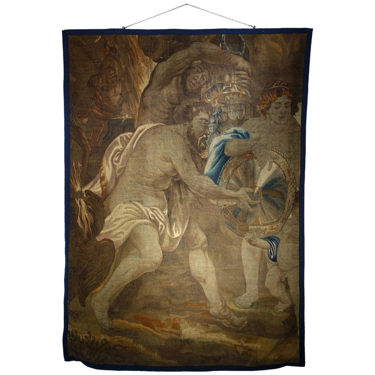 Early 17th Century Flemish Tapestry Fragment of Vulcan the Roman God of Fire For Sale