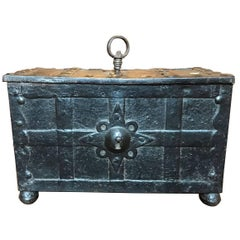 Early 17th Century Medieval Style Antique Handcrafted Black Iron German Coffer