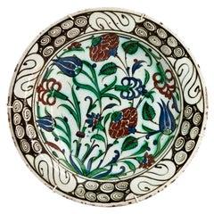 Early 17th Century Ottoman Empire Iznik Pottery Dish