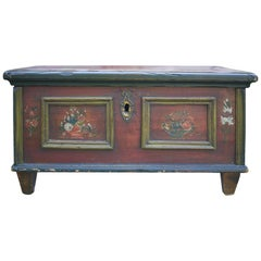 Early 1800 Red Painted Blanket Chest