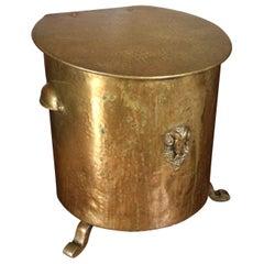 Early 1800s Empire/ Napoleon Coal Kettle/ Bucket with Bronze Rams Head Sculpture