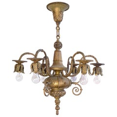 Early 1890s American Silver Plated Six-Candle Chandelier with Filigree