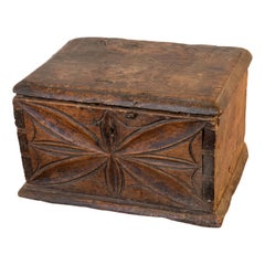 Early 18th Century Italian Carved and Dovetailed Walnut Alms Box