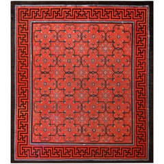 Early 18th Century Antique Chinese Geometric Rug. Size: 12 ft x 14 ft
