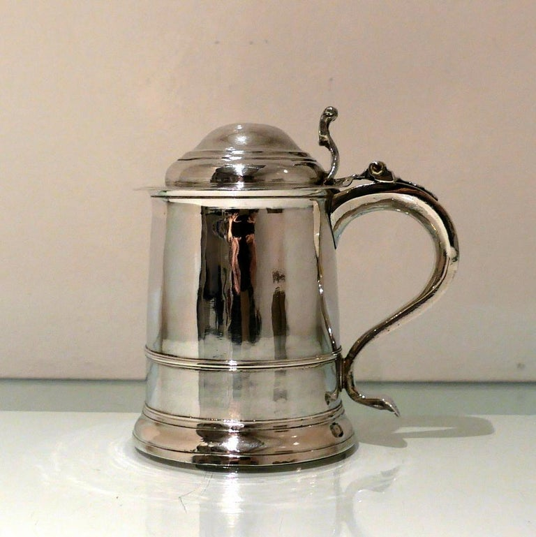 Early 18th Century Antique George I Britannia Silver Ladies Tankard London, 1714 For Sale 1