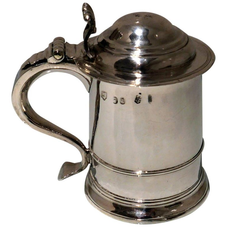 Early 18th Century Antique George I Britannia Silver Ladies Tankard London, 1714 For Sale
