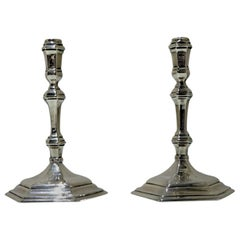 Early 18th Century George I Britannia Silver Pair Tapersticks London, 1716