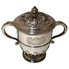 Early 18th Century Antique Queen Anne Britannia Silver Cup & Cover, London, 1705