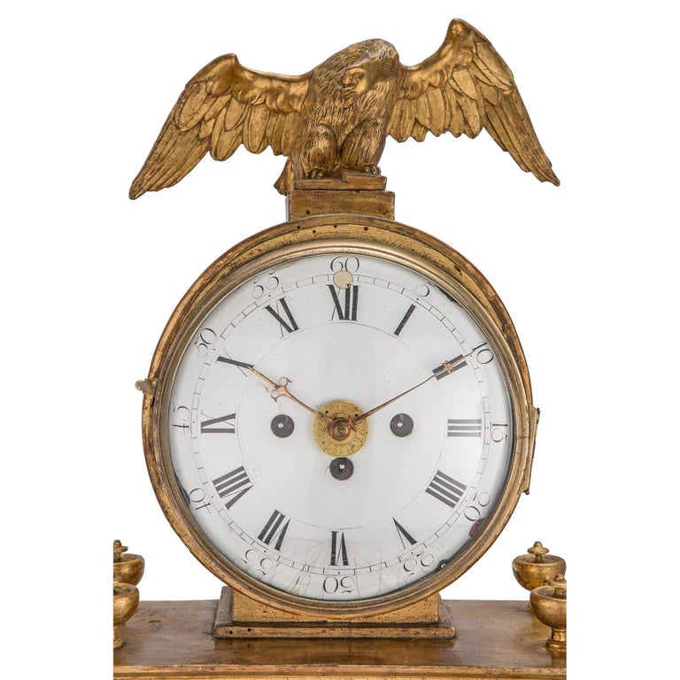 Early 18th Century Austrian Giltwood and Mecca Blind Mans Clock In Excellent Condition For Sale In West Palm Beach, FL