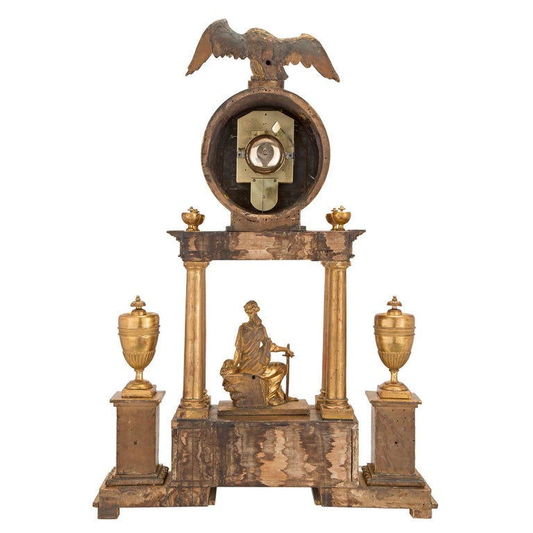 Early 18th Century Austrian Giltwood and Mecca Blind Mans Clock For Sale 3