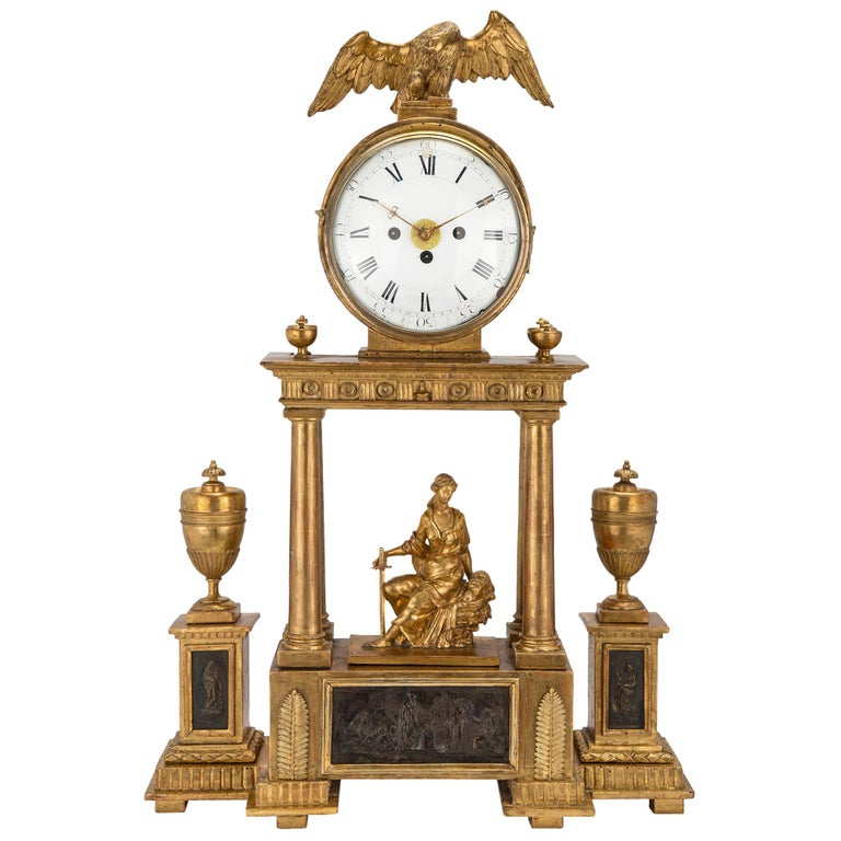 Early 18th Century Austrian Giltwood and Mecca Blind Mans Clock For Sale