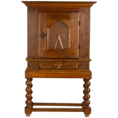 Early 18th Century Baroque Rustic Oak Cabinet on High Stand