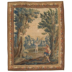Early 18th Century Brussel Tapestry, Finely Woven, Red, Blue, Green, Silk & Wool