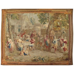 """Early 18th Century Brussels """"Tenier Tapestry"""", Village Theme, Green, Blues, Red"""