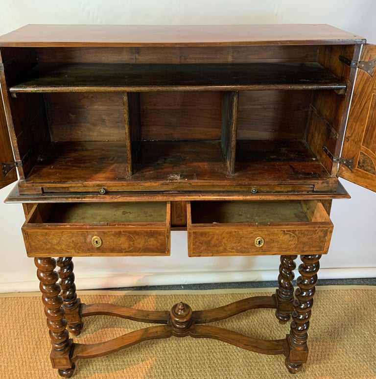 Early 18th Century Burl Walnut Cabinet on Stand For Sale 9