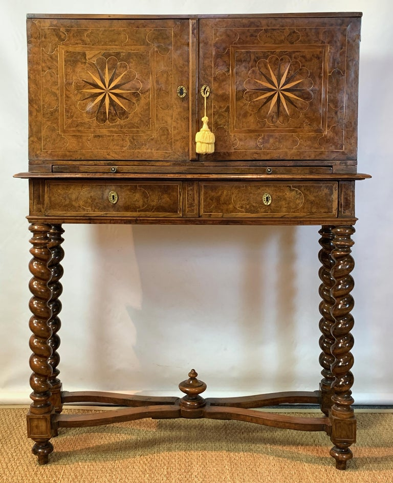 Early 18th Century Burl Walnut Cabinet on Stand For Sale 2